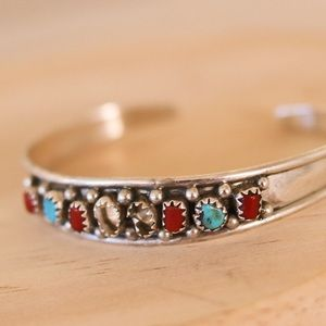 Jewelry - Sterling Silver Turquoise & Coral Bracelet As Is